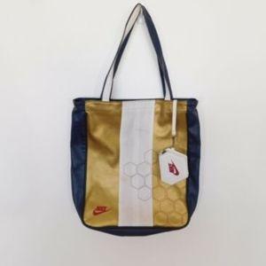 Nike Handbag Training Tote Bag Zipper Gold Navy